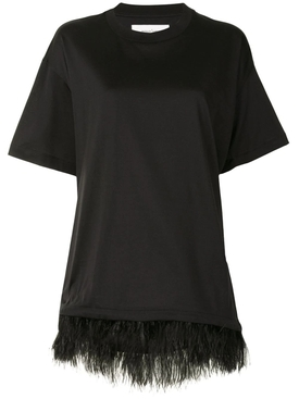 Black feather trim t-shirt