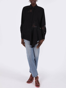 Lace insert shirt BLACK