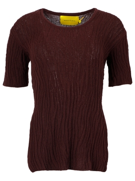 OPEN BACK KNIT TOP BROWN