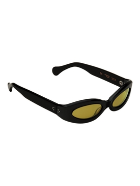 Crepuscolo Oval Lens Sunglasses, Black and Warm Olive