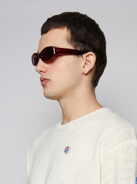 Crepuscolo Oval Lens Sunglasses, Incense Red and Tobacco