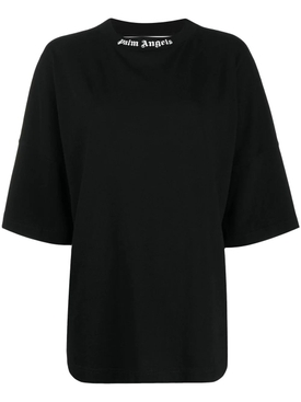 Classic Oversized Logo Collar T-shirt BLACK AND WHITE