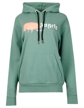 Miami sprayed hoodie forest green and pink