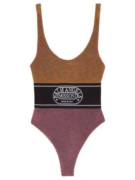 X Missoni Lurex Swim Suit Orange and Purple