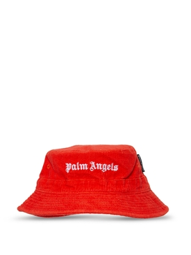 CORDUROY LOGO BUCKET HAT RED AND WHITE