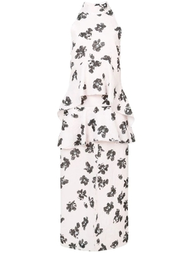White Foral Print Linen Dress