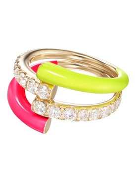 Pink and Yellow Lola Double Ring