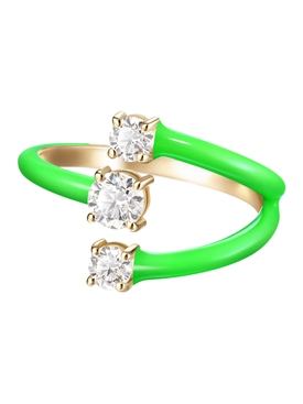 Green Small Aria Moon Ring