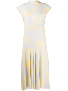 Light Grey and Yellow Print Midi Dress