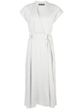Grey Lightweight Suiting Wrap Dress