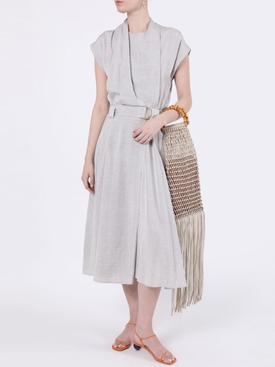 Grey Lightweight Suiting Wrap Dress