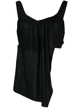 Black Draped Tank-Top