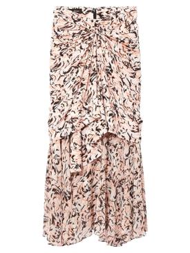 Pink Abstract Layered Midi Skirt
