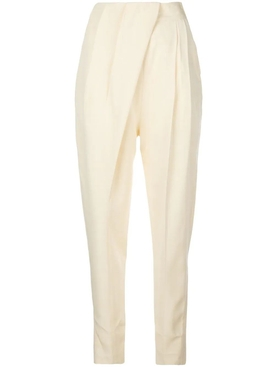 Light Yellow Pleated High-Waist Trousers