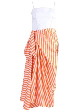 Corset Dress with Sarong Skirt Orange Stripe