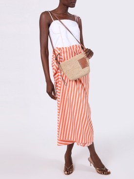 Corset Dress with Sarong Skirt Orange Stripe