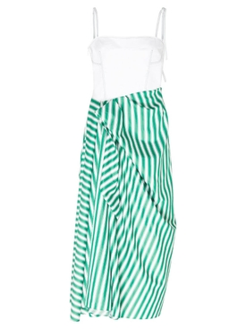 Corset Dress with Sarong Skirt Green Stripe