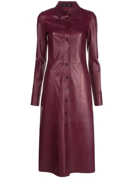 Lightweight leather bordeaux shirt dress