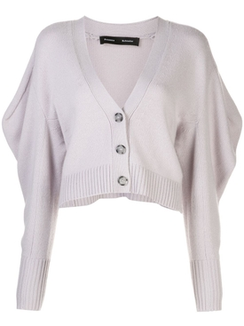 Lilac cashmere draped cardigan