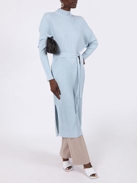 Light Blue Silk Cashmere Mid-length Dress