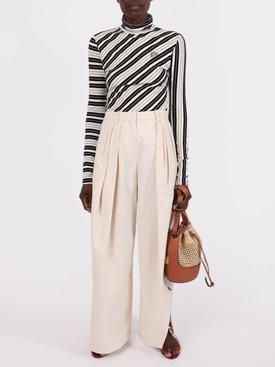 Neutral Pleated Asymmetrical Pants