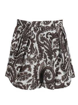 Brown Paisley Pleated Asymmetrical Shorts