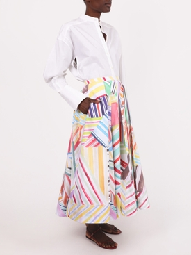 Watercolor print pleated skirt