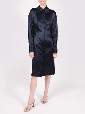 SATIN SHIRTING SHIRT DRESS