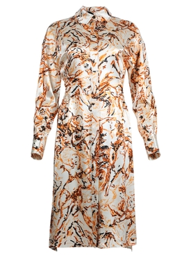 PRINTED SATIN SHIRTING CUT OUT SHIRT DRESS