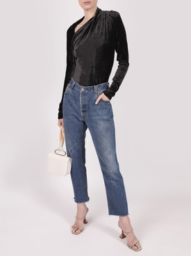 Velvet Asymmetric Cut-Out Top