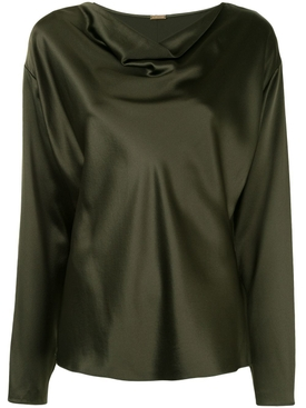 Silk Army Green Blouse