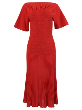 Smocked Knit dress, red