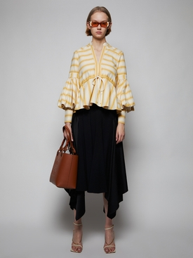 Lantern Sleeve Top, Yellow and White