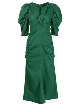 Ruched Linen Dress Bright Green