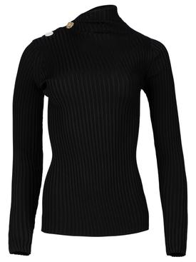 Rib Knit Twisted Top Black