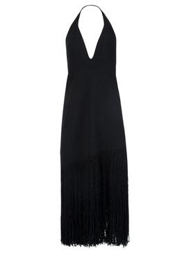 Fringe Knit Halter neck Dress Black