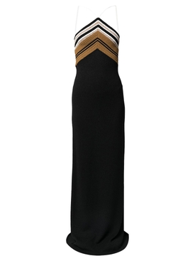 Crimp Knit Halter Dress Black