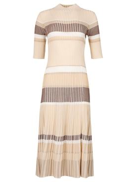 Zig Zag Stripe Knit Dress Sand Beige