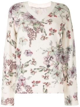 White floral print sweater