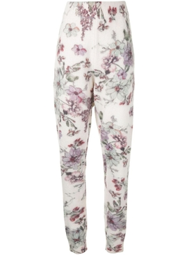 White floral print sweatpants