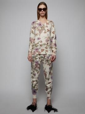 White floral print sweatpants