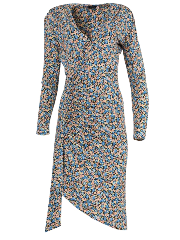 Atlein MULTICOLORED FLORAL GATHERED DRESS