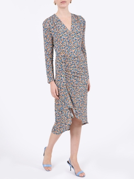Multicolored floral gathered dress