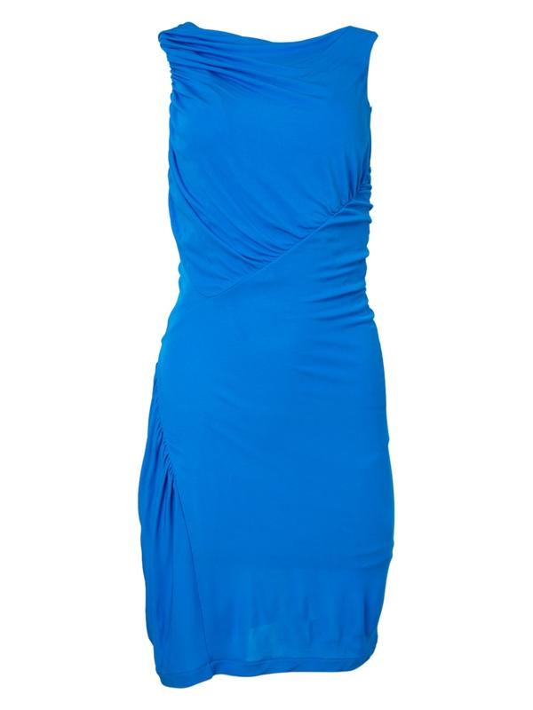 Atlein BLUE GATHERED SLEEVELESS DRESS