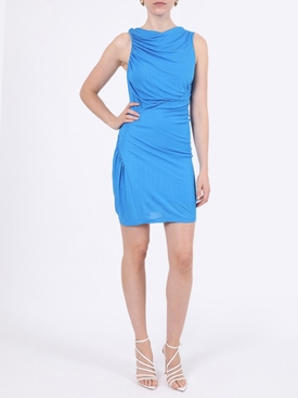 Blue gathered sleeveless dress