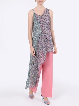 Floral silk asymmetric mini dress