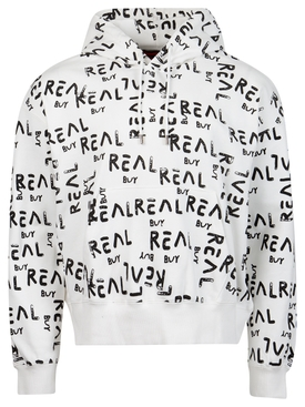 Logo print hoodie jumper white