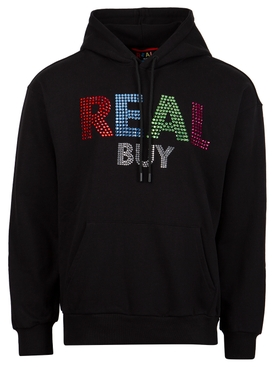 Rhinestone Logo Hooded Sweatshirt Black