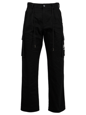 Logo Embroidery Cargo Trousers Black