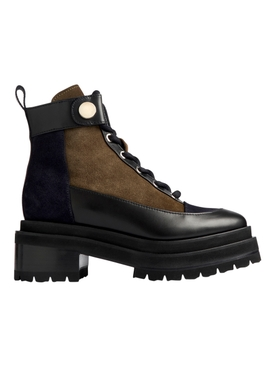 Penny ankle boot suede and calf leather black and army green